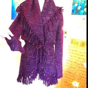 LoveShackFancy Purple Wrap Shawl Fringe Sweater